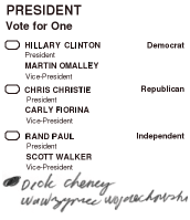Write-in ballot 2016