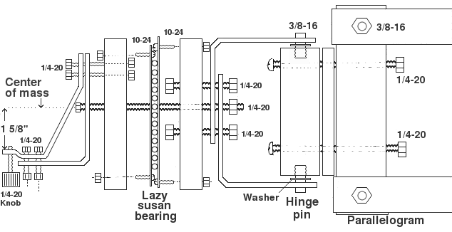 Diagram of hinge assembly