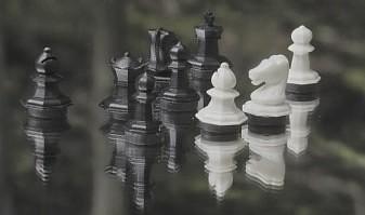 Chess pieces on a mirror
