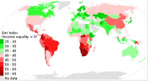 Map of Gini index in various countries