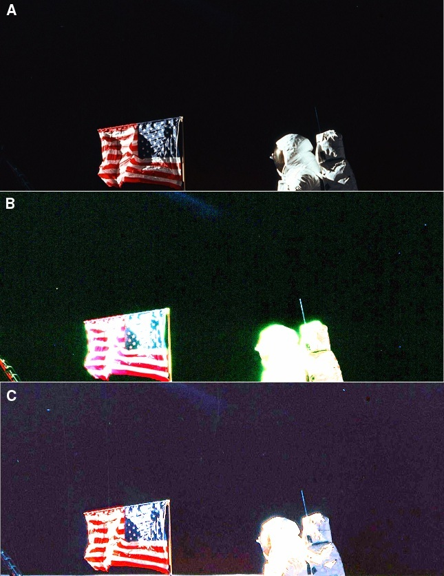 Stars visible in NASA's image of Buzz Aldrin saluting the flag
