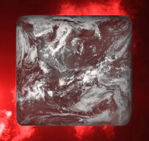 Square earth with red clouds