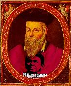Nostradamus wearing Reagan T-shirt